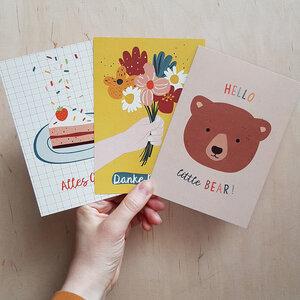 Postkarten 3er-Set Glückwünsche aus Recyclingpapier - TELL ME