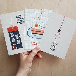 Postkarten 3er-Set Home aus Recyclingpapier - TELL ME