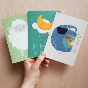 Grußkarten 3er-Set zur Geburt aus Recyclingpapier - TELL ME