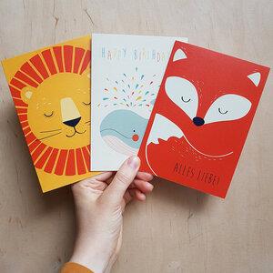 Grußkarten 3er-Set zum Geburtstag aus Recyclingpapier - TELL ME