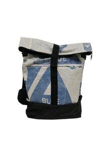 Umhängetasche | recycelt aus Zementsäcken | 2 in 1 Rolltasche und Rucksack in Größe L - Nyuzi Blackwhite