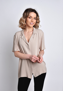 Hemdbluse kurzarm beige - SinWeaver alternative fashion