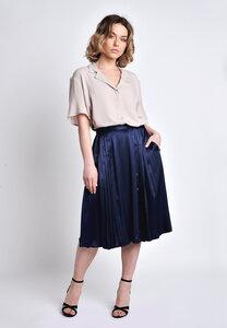 Faltenrock ausgestellt Viskose dunkelblau - SinWeaver alternative fashion