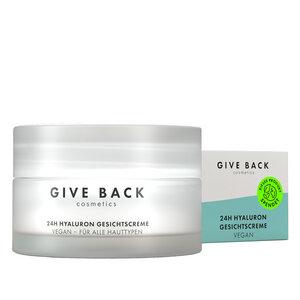 24h Hyaluron Gesichtscreme - Vegan, Anti-Aging, mit Squalan, Sheabutter und Avocado-Öl (Tages- und Nachtcreme) - Umweltschutz - GIVE BACK Cosmetics