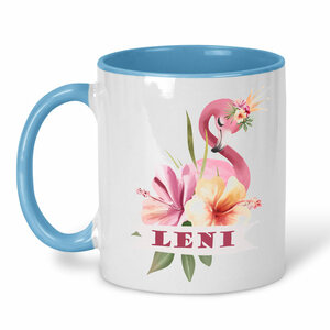 Keramiktasse Flamingo Motive, personalisiert - wolga-kreativ