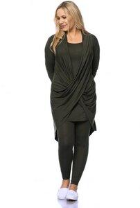 ADALIA figurschmeichelnde Jersey Cardigan im Wickel-Look aus TENCEL (Modal) - Milchshake