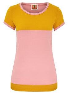 BIO Shirt - Kurzarm - Color blocking - senf/rosa - æbletræ