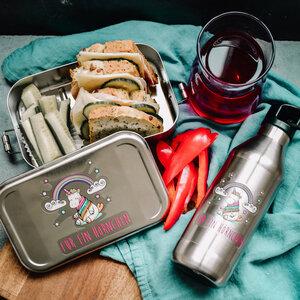 Edelstahl SET Lunchbox & Trinkflasche Hörnchen - tindobo