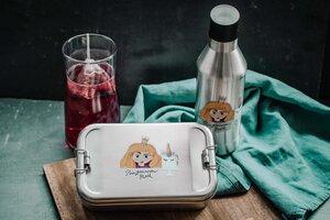 Edelstahl SET Lunchbox & Trinkflasche Prinzessin (Blond) - tindobo