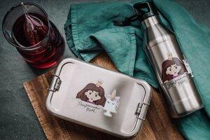 Edelstahl SET Lunchbox & Trinkflasche Prinzessin (Braun) - tindobo