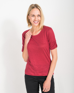 Leinenshirt mit Ärmelraffung 'Linen Shirt' - Alma & Lovis