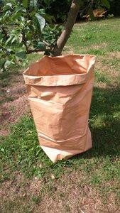 Papiersack aus Altpapier mit zusätzlichem Obst und Gemüsenetz aus Biobaumwolle - Papp à la papp
