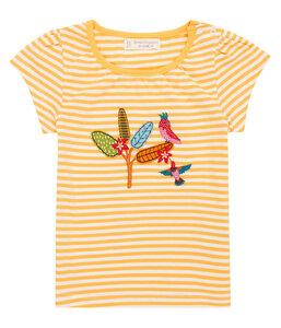 Mädchen T-Shirt gelb geringelt Applikation Biologisch Sense Organics - sense-organics