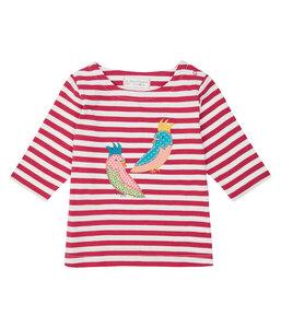 Mädchen LA Shirt pink geringelt Applikation Bio Baumwolle Sense - sense-organics