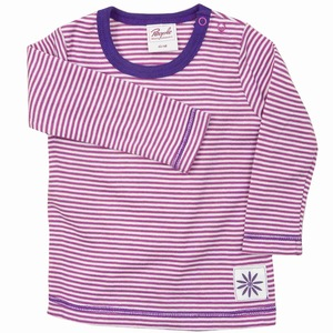 Baby Shirt LA pink/geringelt mit Applikation Bio Baumwolle - People Wear Organic