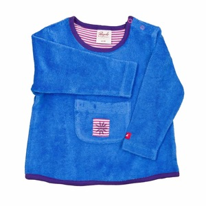 Baby Frottee Shirt LA blau mit Tasche Bio Baumwolle - People Wear Organic