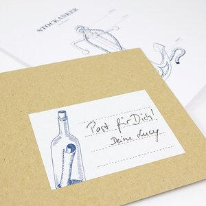 Aufkleber Flaschenpost - Bow & Hummingbird