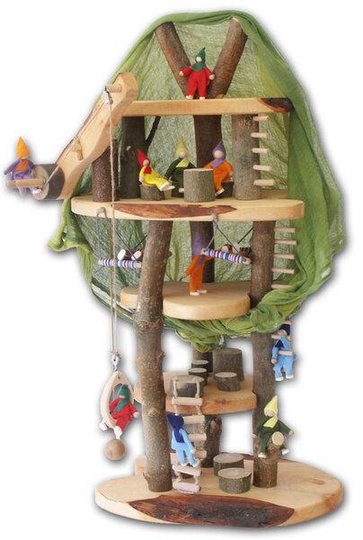 Decor Holzspielwaren Baumhaus Mit Rinde Fur Kreatives Spielen