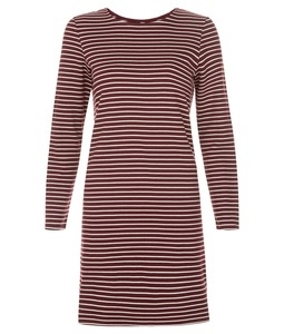 Malena Stripe Dress Burgundy - People Tree