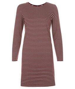 Malena Stripe Dress Burgundy - People Tree