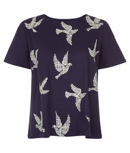 Dove Print Tee Navy - People Tree