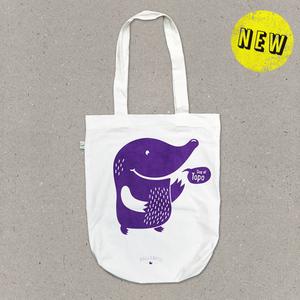 Stofftasche weiss – Maulwurf in violett - Ballenito