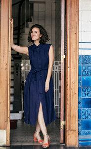 Dress Marie, Blau - Damenkleid aus Bio-Baumwolle - Sophia Schneider-Esleben