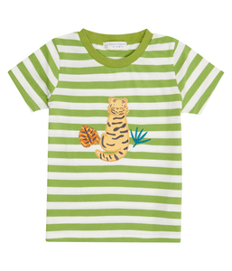 Kinder T-Shirt grün geringelt Biologisch Sense Organics - sense-organics
