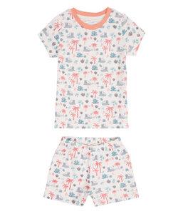 Kinder Schlafanzug kurz weiß bedruckt Bio Baumwolle Sense Organics - sense-organics