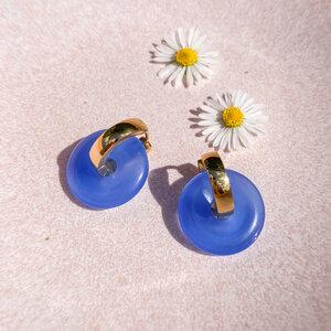 Ohrringe - vergoldete Creolen mit blauem Edelstein OCEAN EYE - Marilis