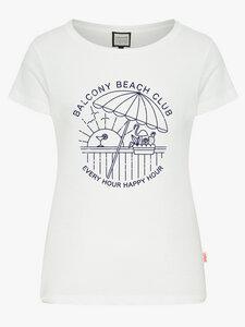 "Frauen T-Shirt aus Biobaumwolle ""Balcony Beach Club"" - Mademoiselle YéYé"