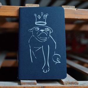 Notizheft 'Mops Royal' - shop handgedruckt