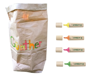 Papiersack aus Altpapier mit 4er Set edding - Edding