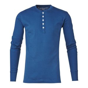 Rib Knit Henley Langarmshirt Estate Blue - KnowledgeCotton Apparel