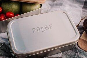 "Edelstahl Lunchbox ""Pause"", rostfrei - tindobo"