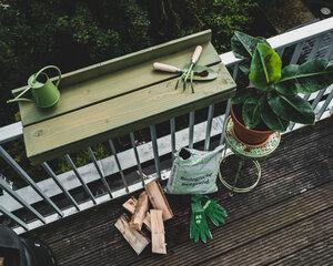 Balkonbar Pine holz - Balkongeländer Rund - 90 x 30 cm - Balkonbar