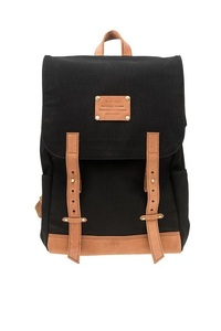 Mau's Backpack Black Canvas/ Eco Camel - O MY BAG
