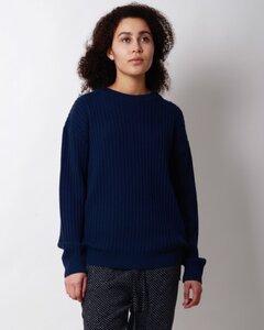 dunkelblauer Rippenpullover Valerie aus Biomerinowolle - Susan's Fashion
