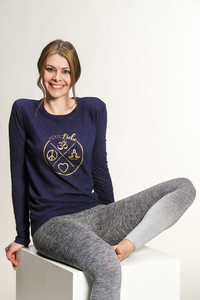 "Yoga Damen Longsleeve ""YogiLiebe"" Blau - YogiLiebe"