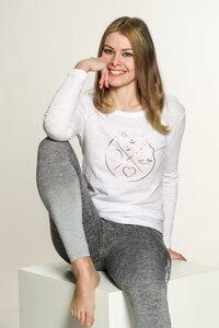 "Yoga Damen Longsleeve ""YogiLiebe"" Weiß - YogiLiebe"