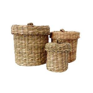 Seegraskorb Set rund mit Deckel - bambusliebe