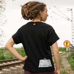 Reisekoffer T-Shirt für Damen in schwarz - Cmig