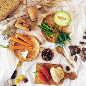 Holz-Teller Olivenholz für Camping o. Garten - NATUREHOME