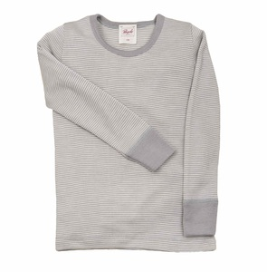 Langarmunterhemd grau Wolle Seide - People Wear Organic
