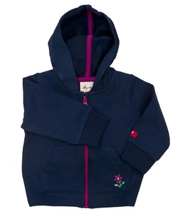 Sweatjacke blau mit Blume - People Wear Organic