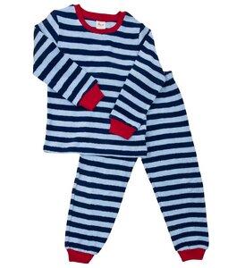 Frotteepyjama hellblau/dunkelblau gestreift - People Wear Organic