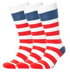 3er Set / 6er Set rot gestreifte Leuchtturm Muster Bio-Baumwolle Socken - Opi & Max