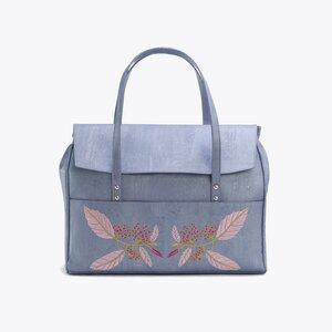 Kork Henkeltasche Korktasche Handtasche Damen Korkleder blau Blumen 46x37 cm - ARTELUSA ®