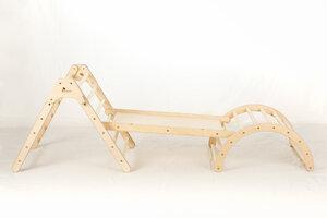 Koalaling Set Kletterdreieck (70cm) mit Hühnerleiter/Rutsche und Bogen - Kletterling Holzspielzeug