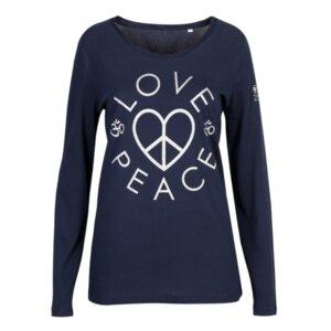 "YOGICOMPANY - Damen - Yoga Longsleeve ""LOVE & PEACE"" heatherblau/silber - YogiCompany"